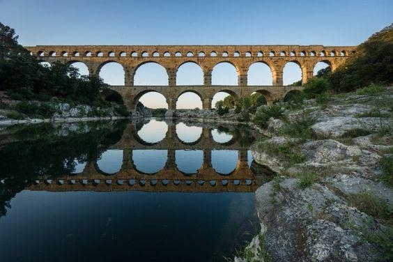 Pont du Gard - couché du soleil
